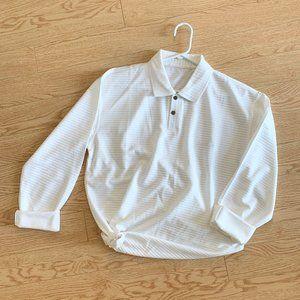 Vintage White Cream Striped Collared Shirt Top Tee